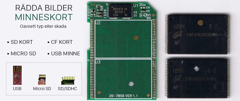 Rädda bilder dokument från minneskort usbminne. Chip off recovery